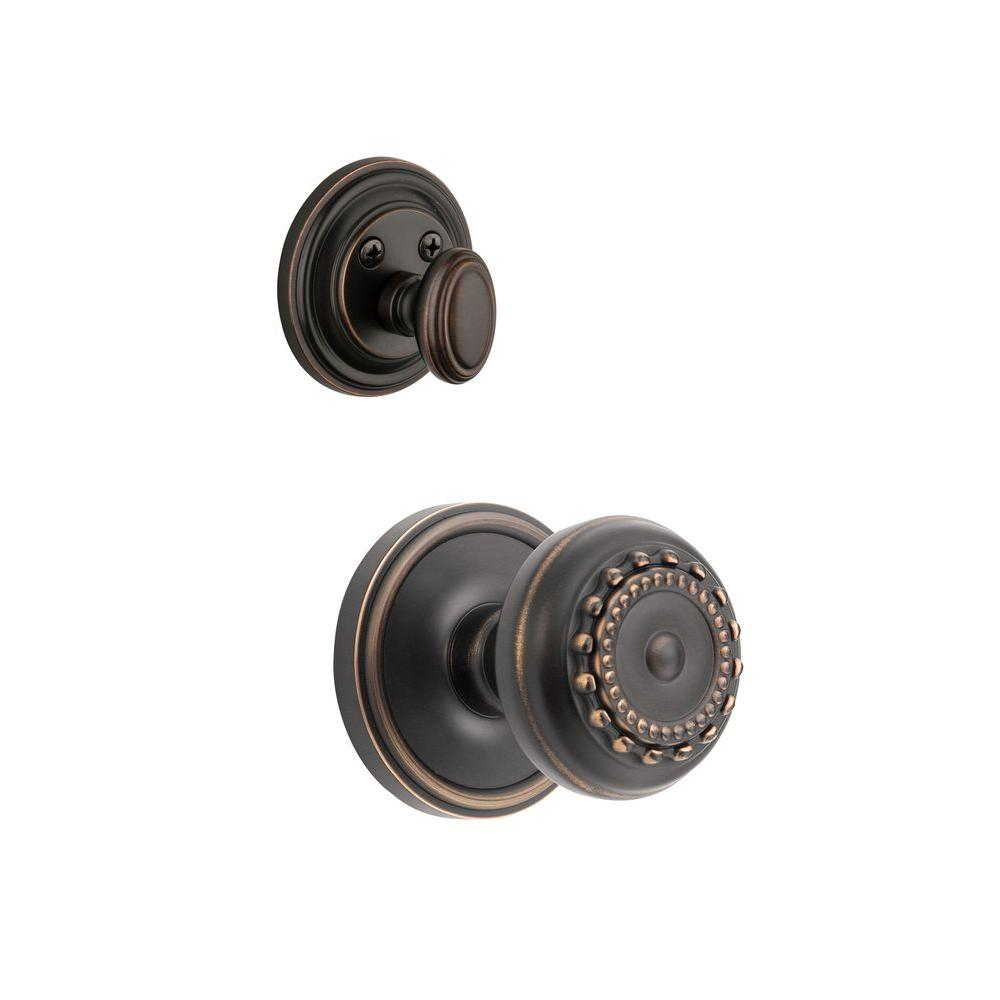 Grandeur Georgetown Single Cylinder Timeless Bronze Combo Pack Keyed Alike with Parthenon Knob and Matching Deadbolt