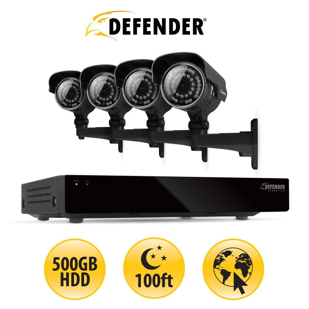 Defender 8-Channel 500GB HDD Surveillance System with (4) 600 TVL Cameras and 100 ft. of Night Vision