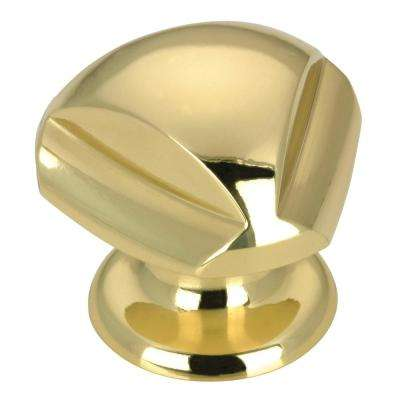 1-3/16 in. (30 mm) Contemporary Brass Round Cabinet Knob
