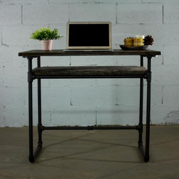 Berkeley Mid Century Black Home Office Pipe Writing Desk Lower Shelf Metal With Reclaimed Aged Wood By Furniture Pipeline