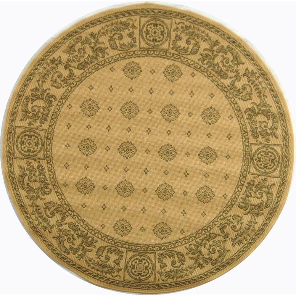 Safavieh Courtyard Natural/Olive 5 ft. 3 in. x 5 ft. 3 in. Indoor/Outdoor Round Area Rug