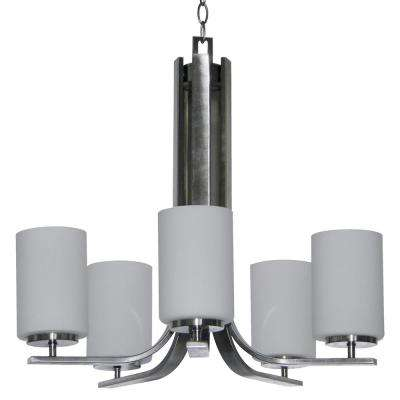 5-Light Satin Steel Chandelier Etched Dove White Glass Shade
