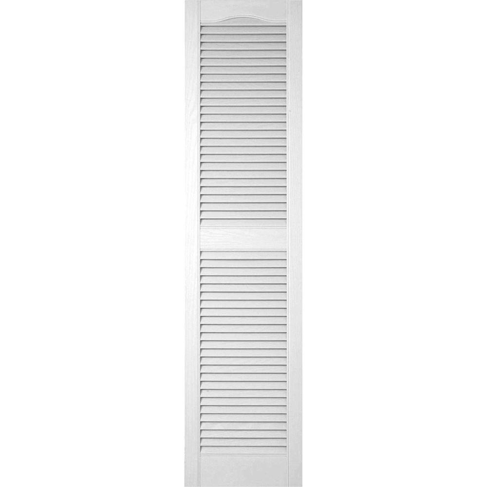 Ekena Millwork 12 in. x 61 in. Lifetime Vinyl Custom Cathedral Top Center Mullion Open Louvered Shutters Pair Bright White