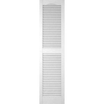 18 in. x 60 in. Lifetime Vinyl Custom Cathedral Top Center Mullion Open Louvered Shutters Pair Bright White