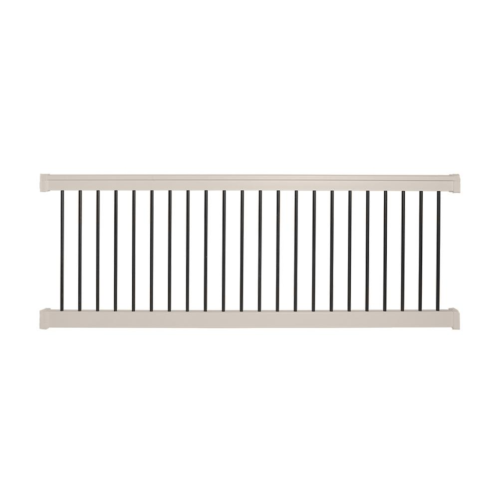 Weatherables bellaire 3 5 ft h x 8 ft w tan vinyl railing kit wtr thdba42 s8 the home depot - Vinyl railing reviews ...