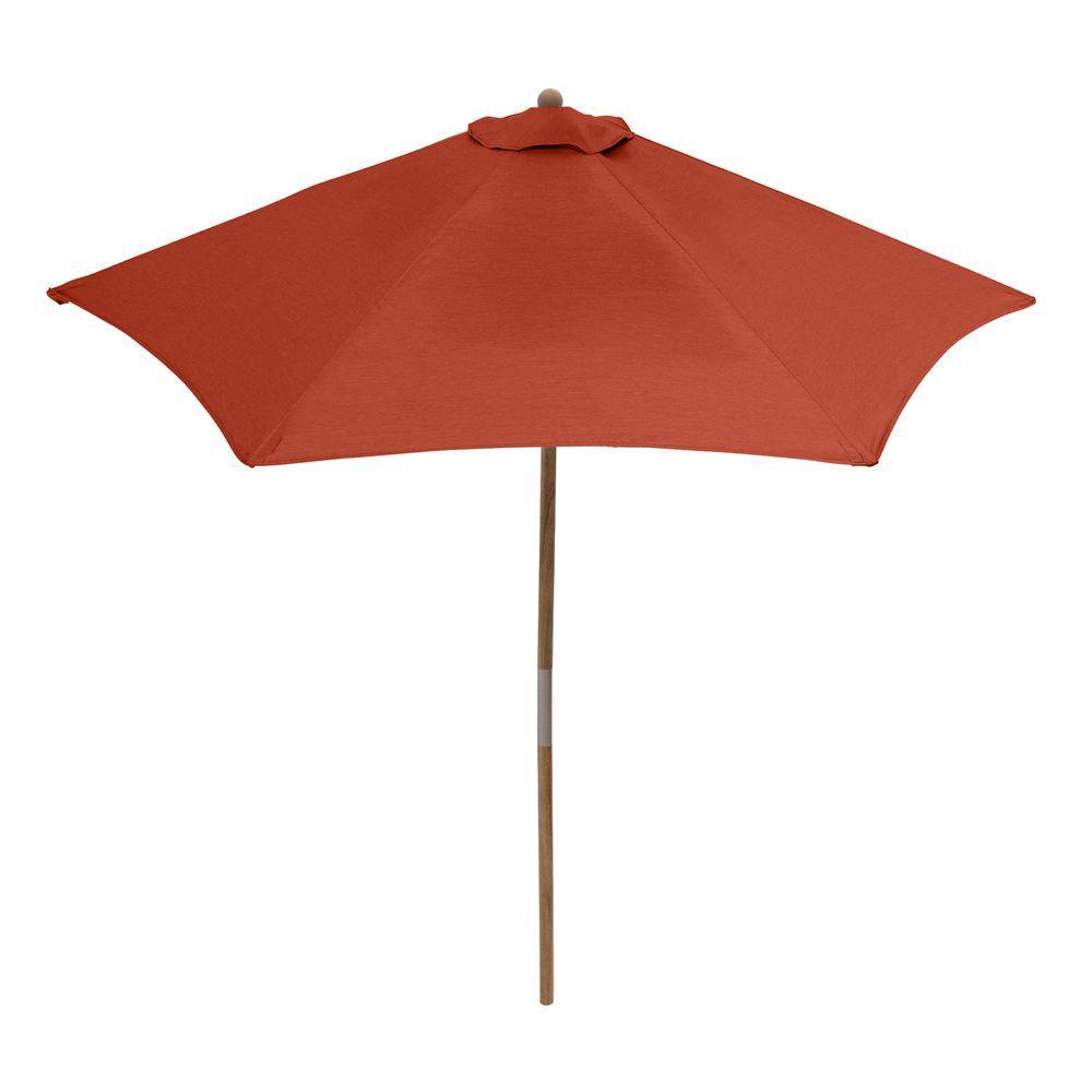 Hampton Bay 9 ft. Teak Patio Umbrella in Quarry Red