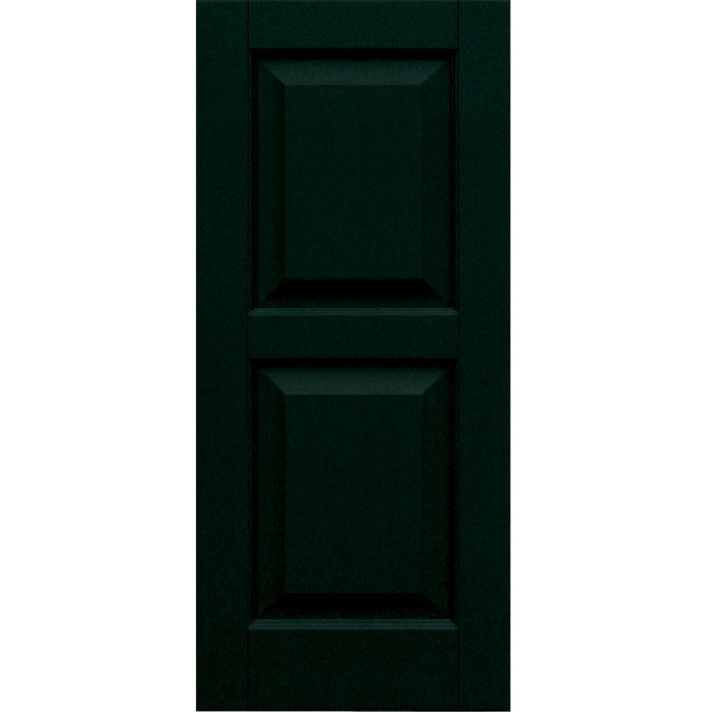 Winworks Wood Composite 15 in. x 34 in. Raised Panel Shutters Pair #654 Rookwood Shutter Green