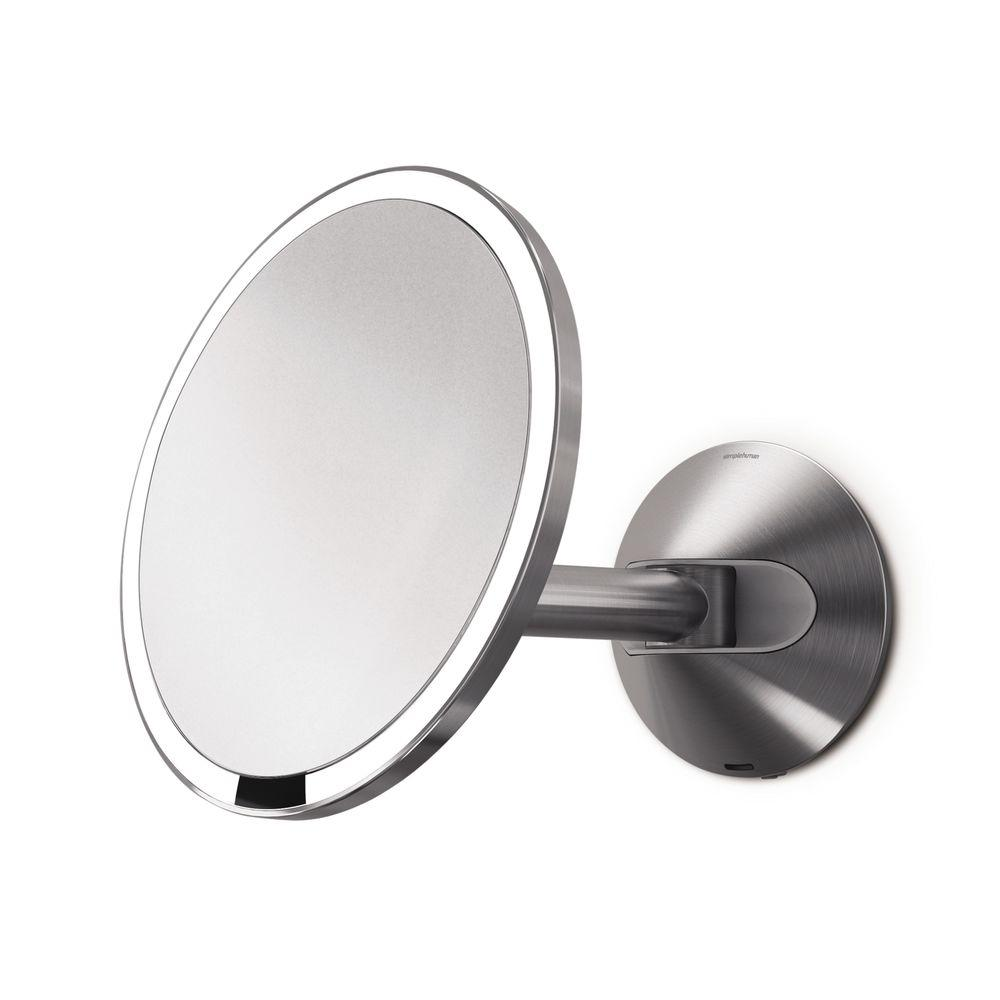 Simplehuman Wall Mount Lighted Sensor Activated Vanity Makeup Mirror In Brushed Stainless Steel