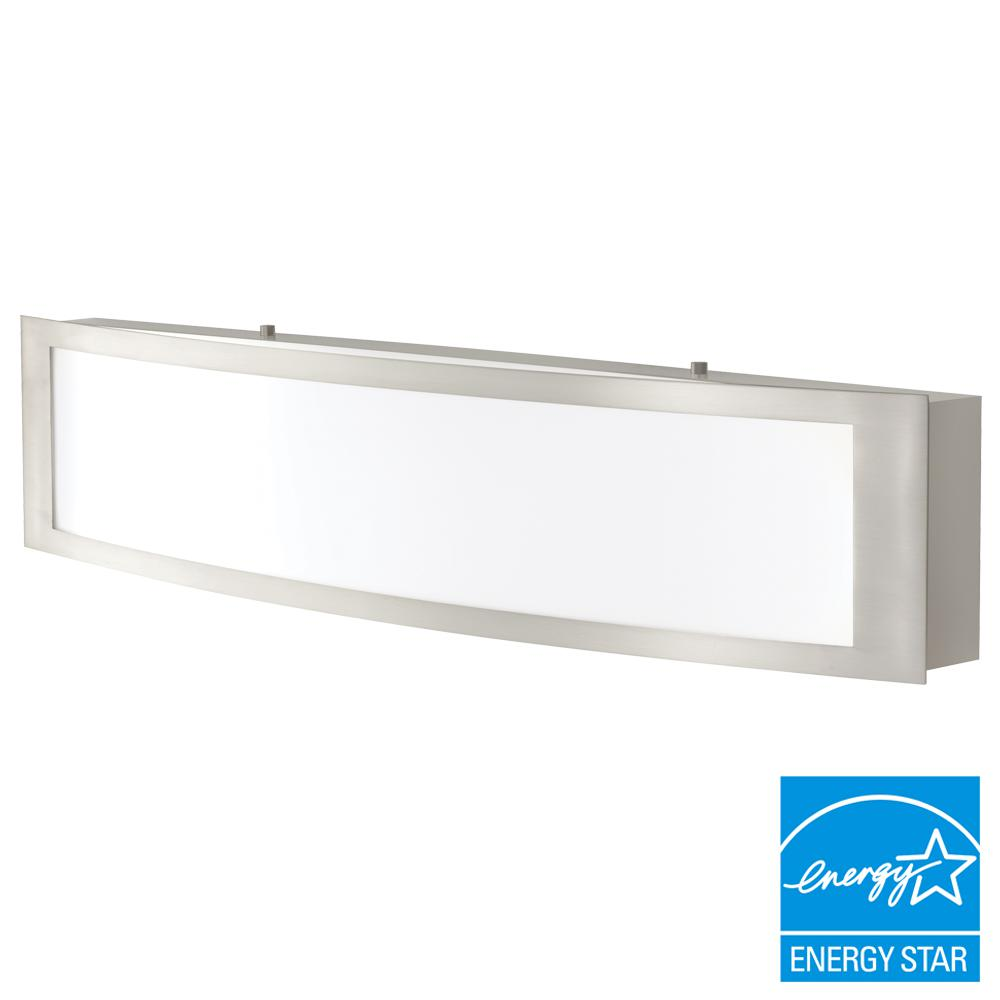 Integrated led vanity lighting lighting the home depot 180 watt equivalent brushed nickel integrated led vanity light aloadofball Choice Image