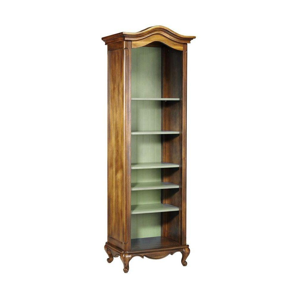 Home Decorators Collection Provence Chestnut Green 72 in. H 6-Open Shelf Single Bookcase
