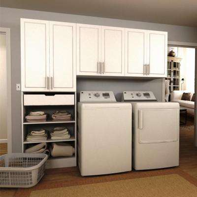 W White Wide Tower Storage Laundry Cabinet Kit