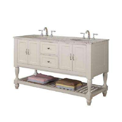Mission Turnleg 60 in. Double Vanity in Pearl White with Marble Vanity Top in Carrara White