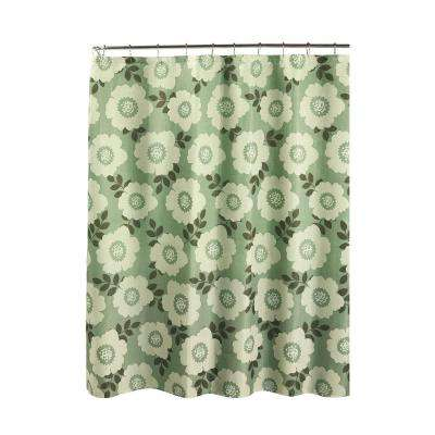 Diamond Weave Textured 70 in. W x 72 in. L Shower Curtain with Metal Roller Rings in Dione Sage/Ivory