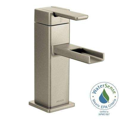90-Degree Single Hole 1-Handle Mid-Arc Lavatory Faucet in Brushed Nickel