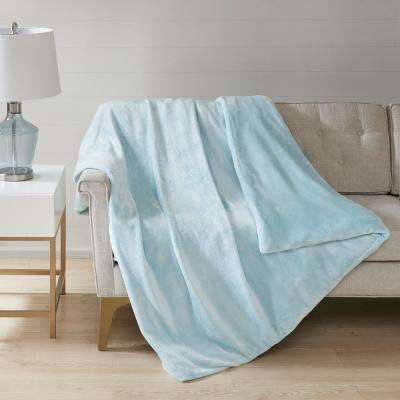 60 in. x 70 in. 12 lbs. Blue Plush Weighted Blanket