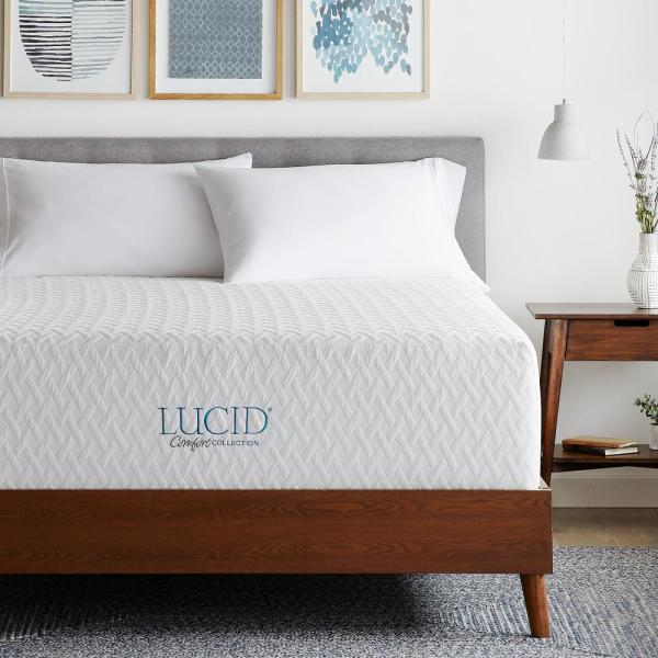 LUCID Comfort Collection 16 in. Twin XL Plush SureCool Gel Memory