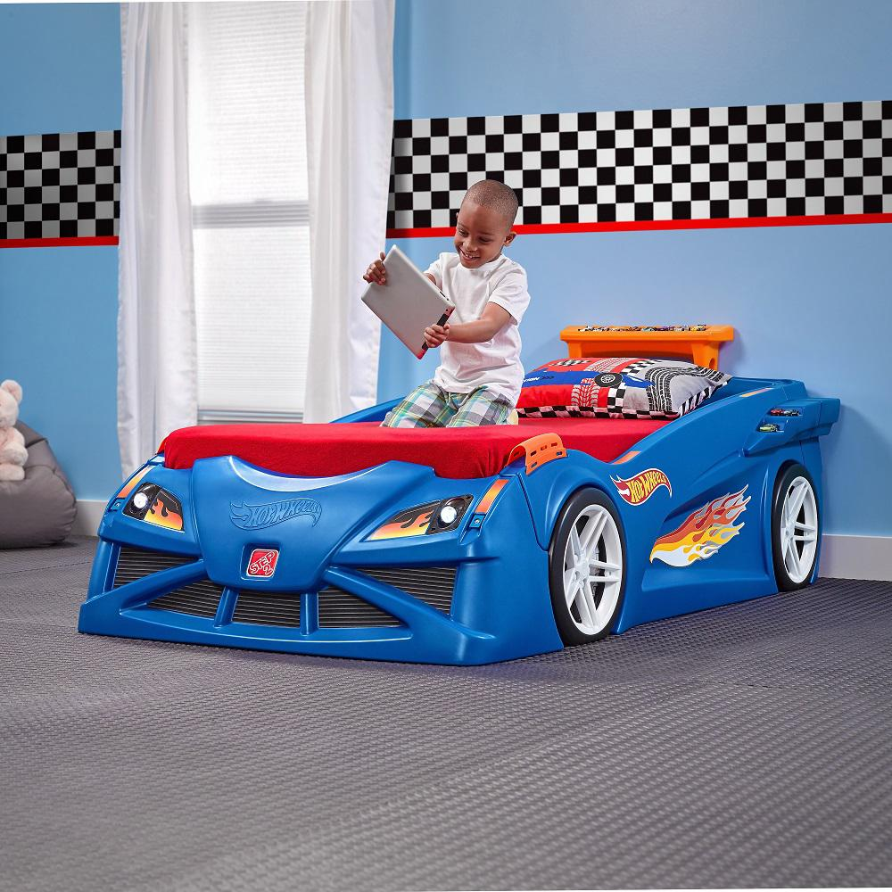 step2 hot wheels twin plastic kids bed 854600 the home depot