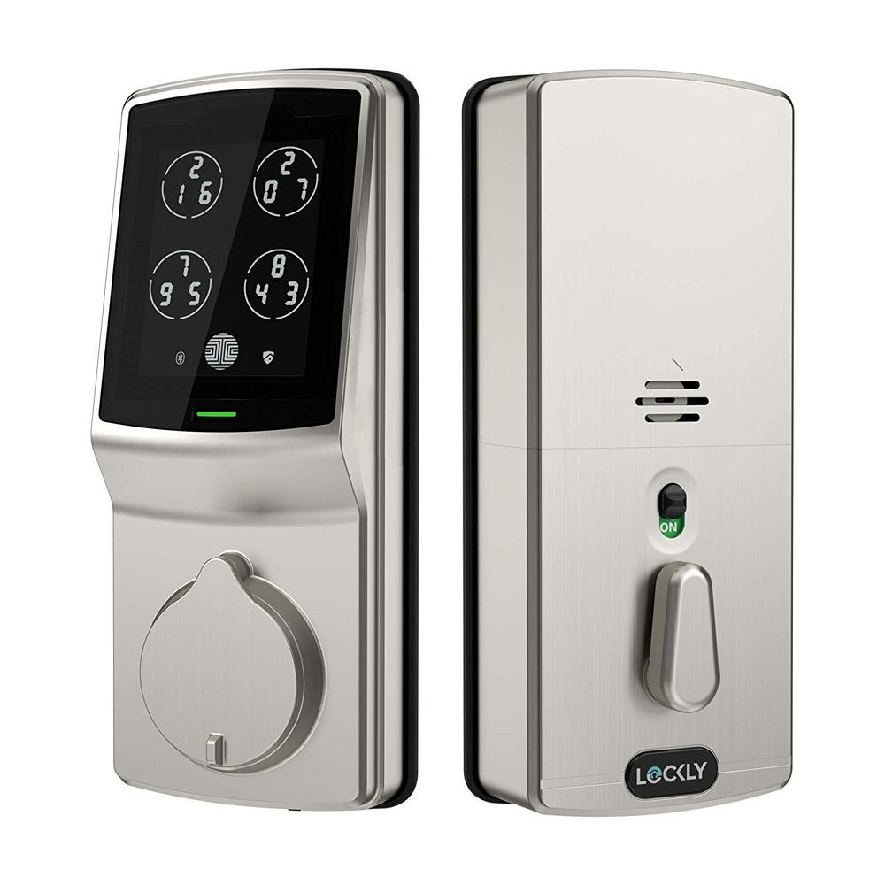 Lockly Secure Satin Nickel Single-Cylinder Smart Alarmed Deadbolt Lock with Keypad, Bluetooth and Discrete PIN Code Input