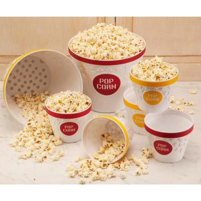 Plastic Popcorn Bucket and Popcorn Bowls in Red with Removable Kernel Catcher (Set of 5)