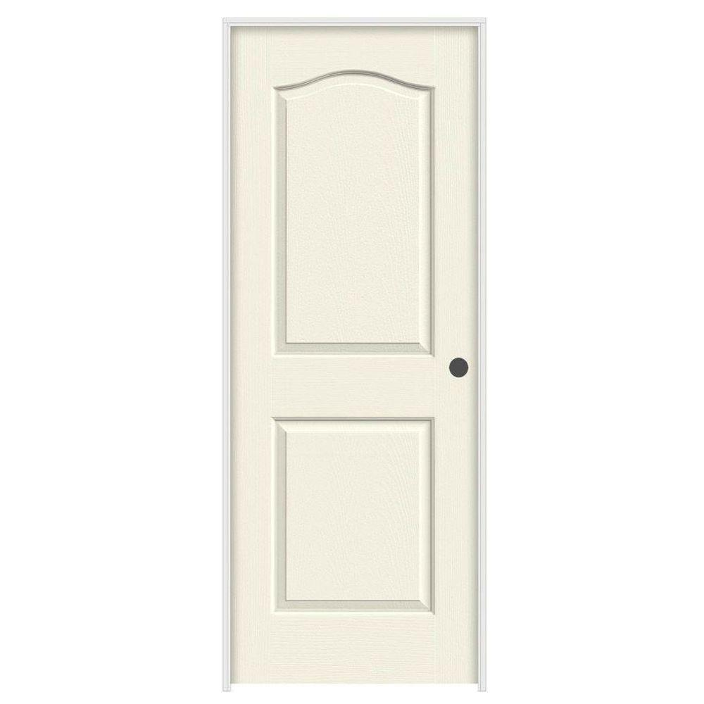28 in. x 80 in. Camden Vanilla Painted Left-Hand Textured Solid
