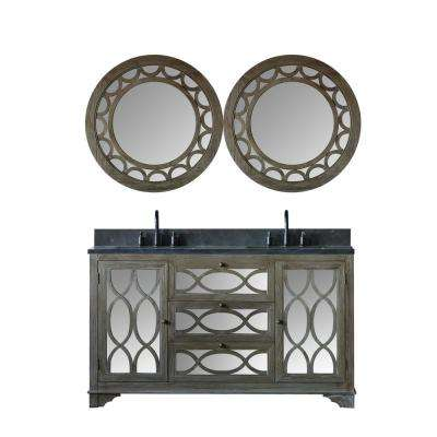 60 in. W x 22 in. D Vanity in Brushed Natural with Moon Stone Vanity Top in Black with White Basin and 2-Mirrors