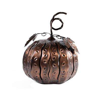 5.5 in. x 7.5 in. Bronze Fall Harvest Mini Pumpkin Luminary