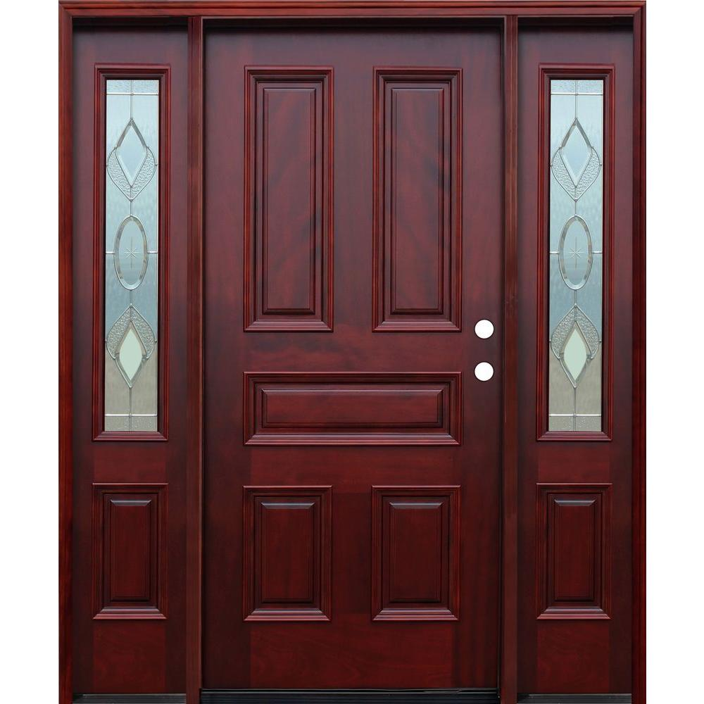 66in.x80in. Strathmore Traditional 5-Panel Stained Mahogany Wood Prehung Front