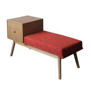 Ilya Mid-Century Modern Red Heathered Fabric and Natural Faux Wood Storage Bench