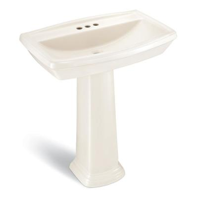 Designer Series 30 in. Pedestal Sink Basin with 4 in. Faucet Center in Biscuit