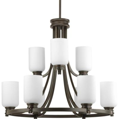 Orbitz Collection 9-Light Antique Bronze Chandelier with Opal Etched Glass Shade