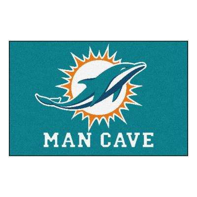 NFL Miami Dolphins Teal Man Cave 2 ft. x 3 ft. Area Rug
