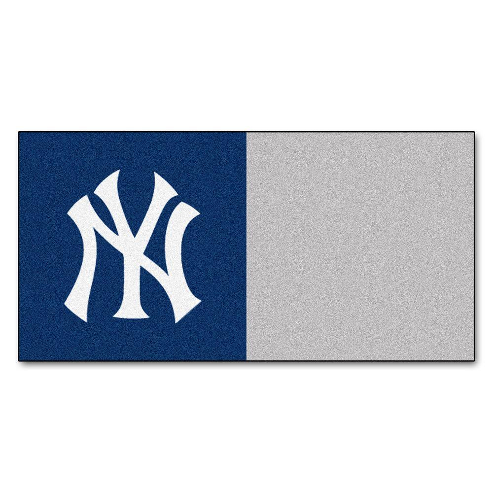 FANMATS MLB - New York Yankees Navy Blue and Brown Nylon 18 in. x 18 in. Carpet Tile (20 Tiles/Case)