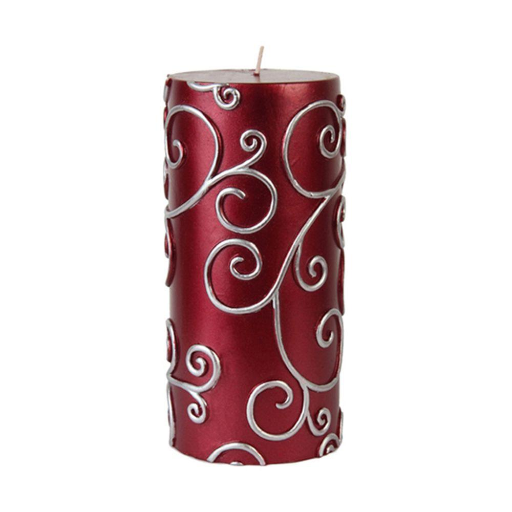 Zest Candle 3 in. x 6 in. Red Scroll Pillar Candle Bulk (12-Case)