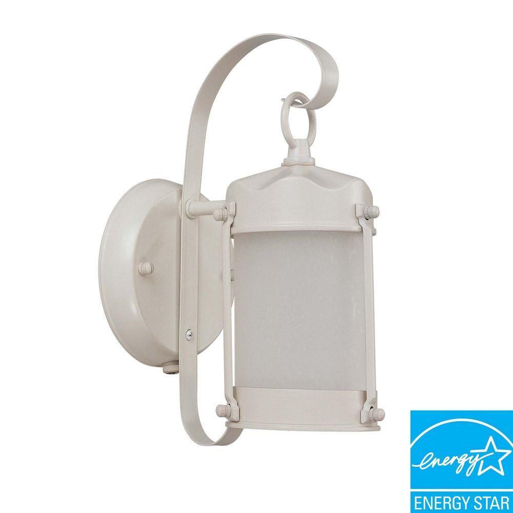 1-Light Outdoor White Fluorescent Wall Light