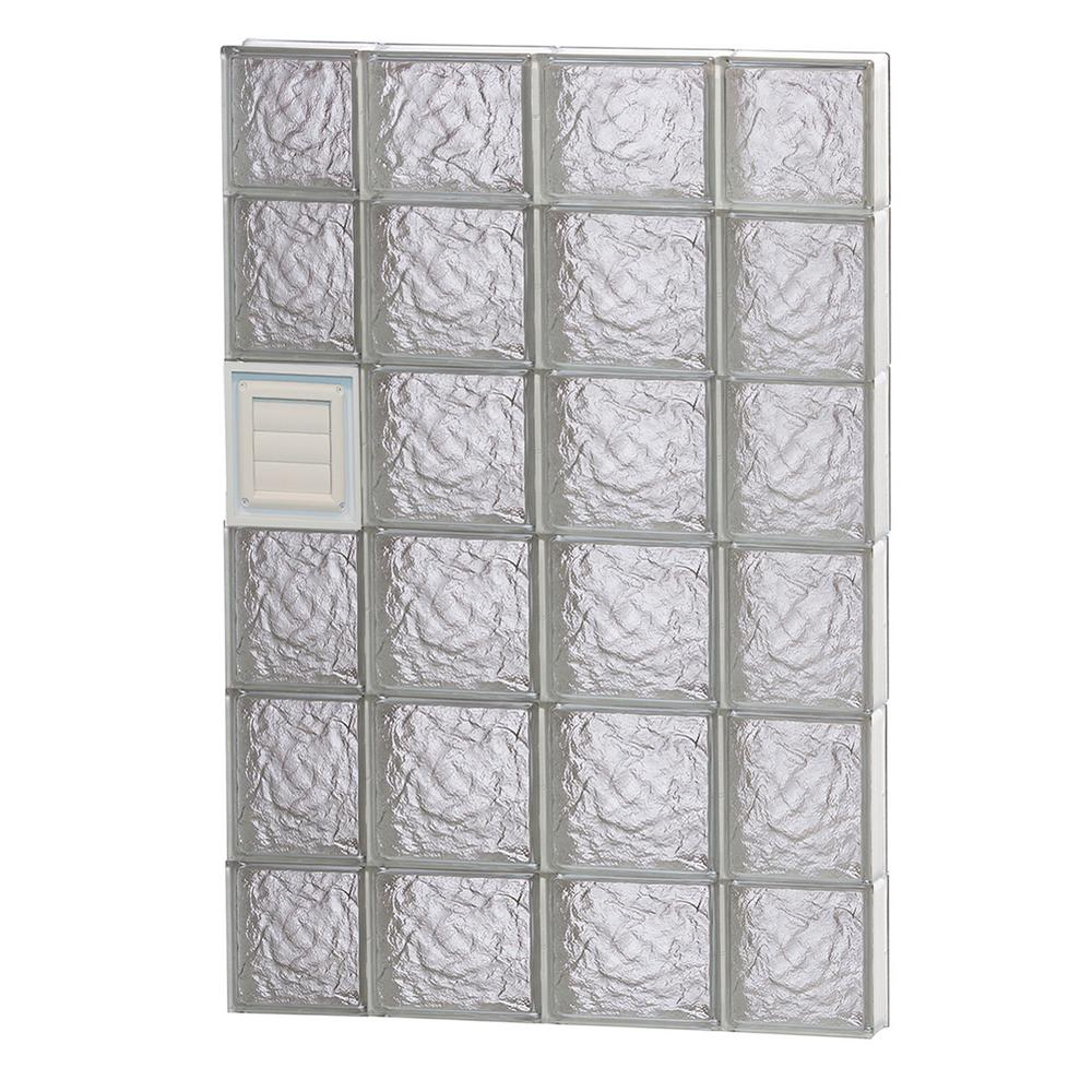 Clearly Secure 27 in. x 42.5 in. x 3.125 in. Frameless Ice Pattern Glass Block Window with Dryer Vent