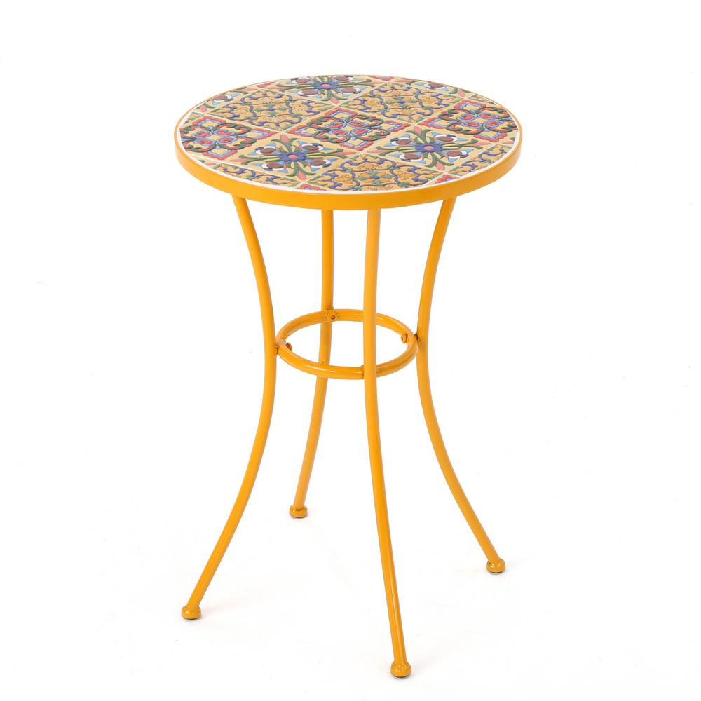 Charmant Noble House Reyna Yellow Round Metal Outdoor Side Table