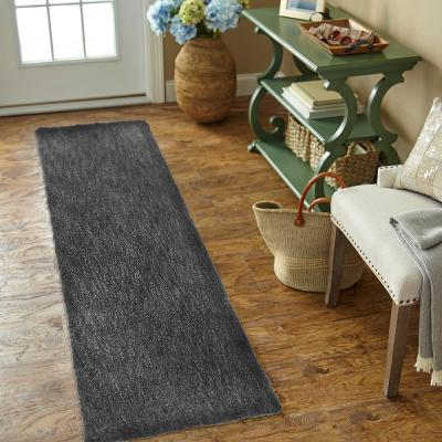 Ethereal Shag Graphite Charcoal 2 ft. x 8 ft. Indoor Runner Rug