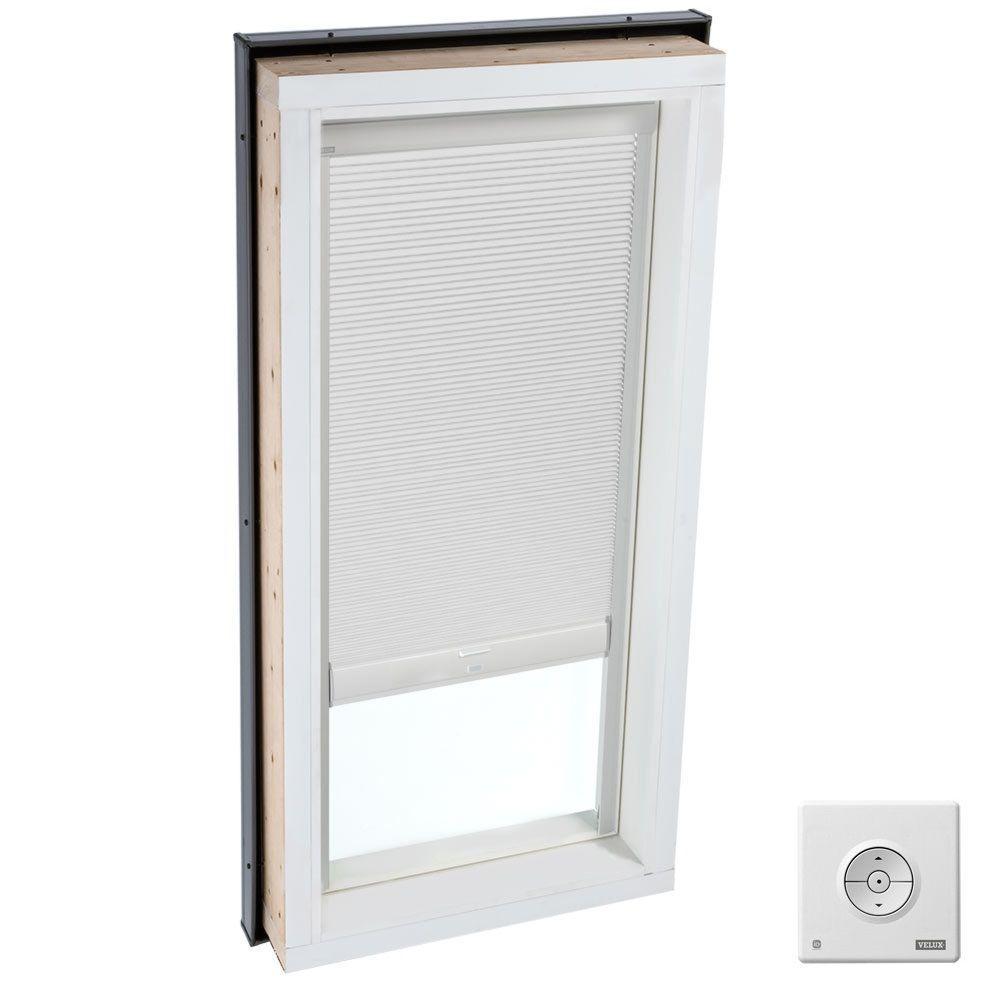 Velux solar powered room darkening white skylight blinds for Velux solar skylight tax credit