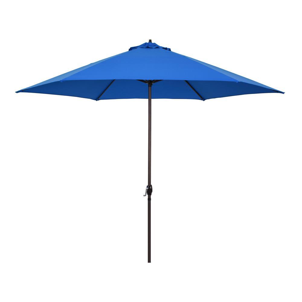 Astella 11 ft. Aluminum Market Crank Lift Patio Umbrella in Polyester Pacific Blue