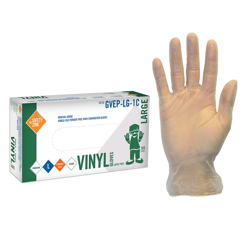Safety Zone X-Large Clear Disposable Vinyl Exam Gloves Po...