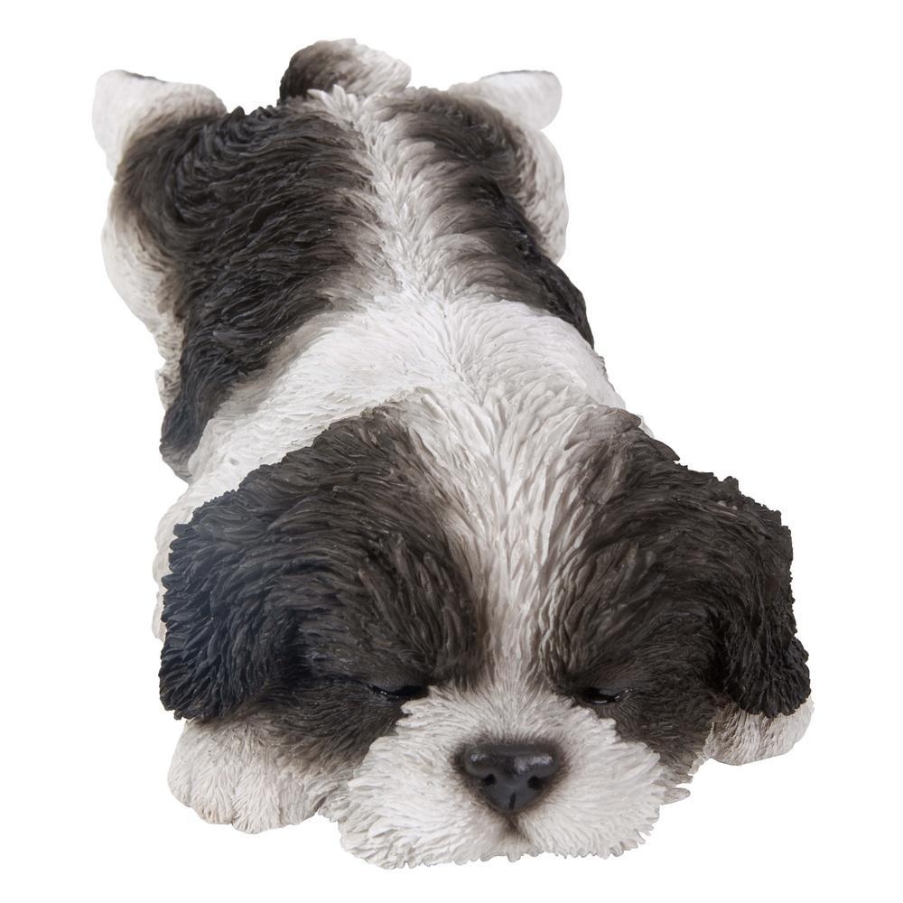 Hi-Line Gift Black and White Shih Tzu Puppy Sleeping Statue