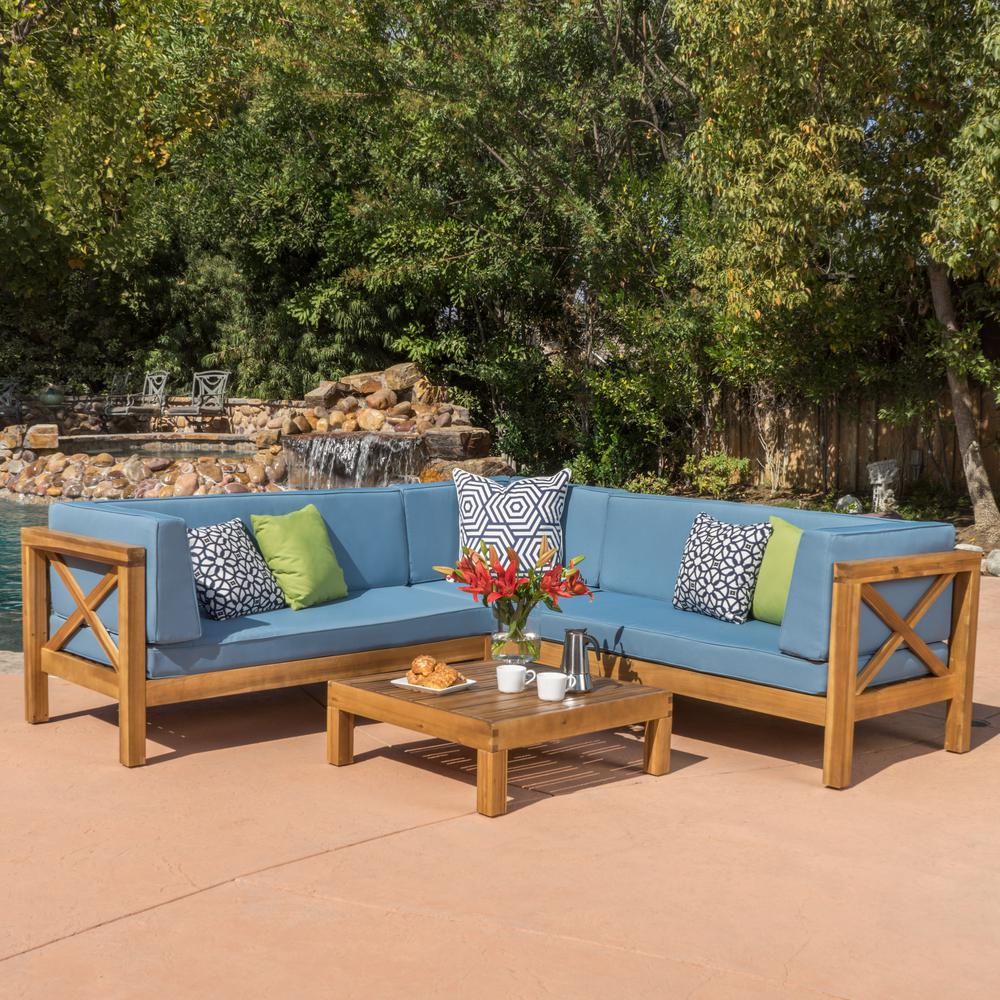 Noble House Brava Teak Finish 4 Piece Wood Outdoor Sectional Set With Blue  Cushions