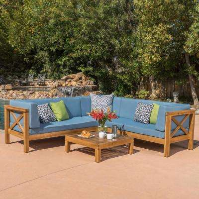 Brava Teak Finish 4-Piece Wood Outdoor Sectional Set with Blue Cushions