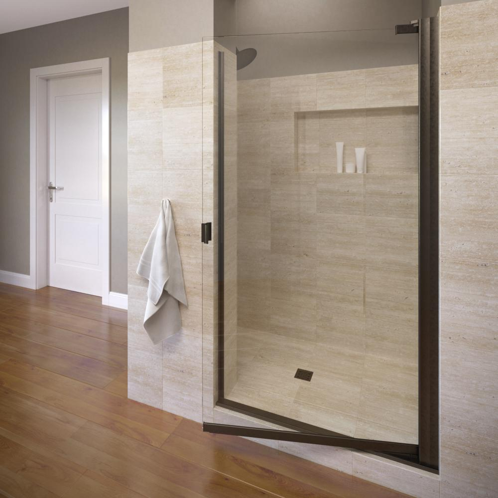 Basco Classic 30-1/8 in. x 66 in. Semi-Frameless Pivot Shower Door in Oil Rubbed Bronze
