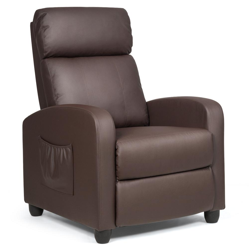 Costway Brown with Padded Seat Ergonomic Adjustable Recliner Massage Chair Single Sofa HW64114CF The Home Depot