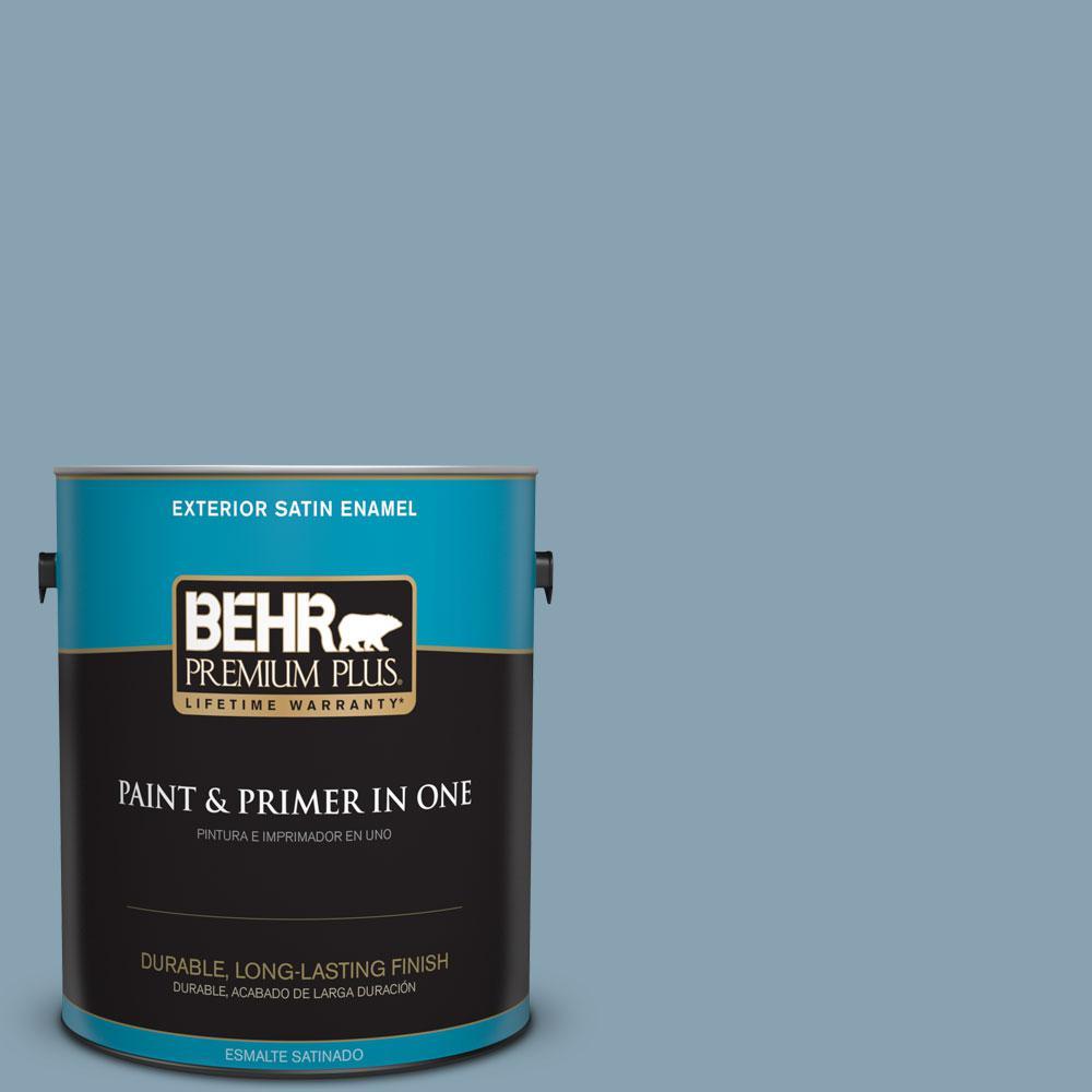 BEHR Premium Plus 1-gal. #T14-14 Cloisonne Blue Satin Enamel Exterior Paint