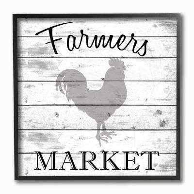 "12 in. x 12 in. ""Farmers Market Rooster Grey and White Planked Look"" by Kimberly Allen Framed Wall Art"