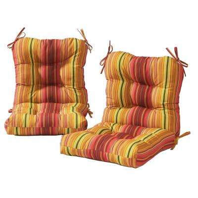 Kinnabari Stripe Outdoor Dining Chair Cushion (2-Pack)