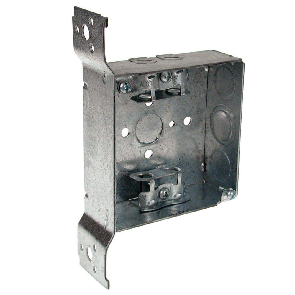 4 in. Welded Square Electrical Box, AC/MC, Flex Clamps and Bracket