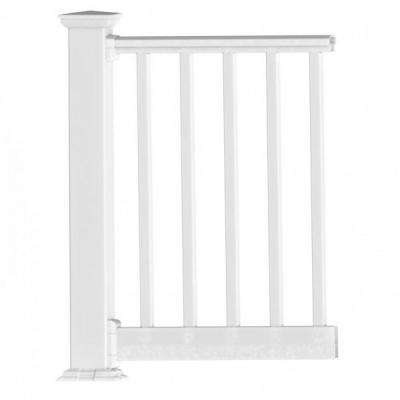 Original Rail PVC 8 ft. x 42 in. White Square Baluster Level Rail Kit